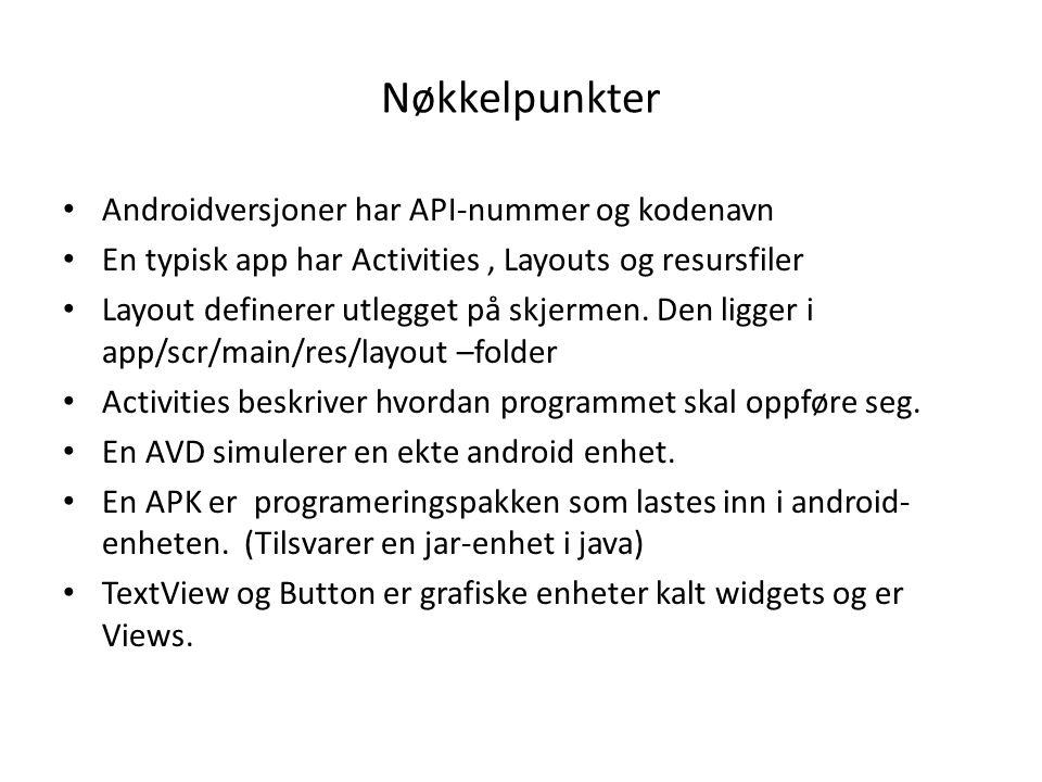 Nøkkelpunkter Androidversjoner har API-nummer og kodenavn En typisk app har Activities, Layouts og resursfiler Layout definerer utlegget på skjermen.