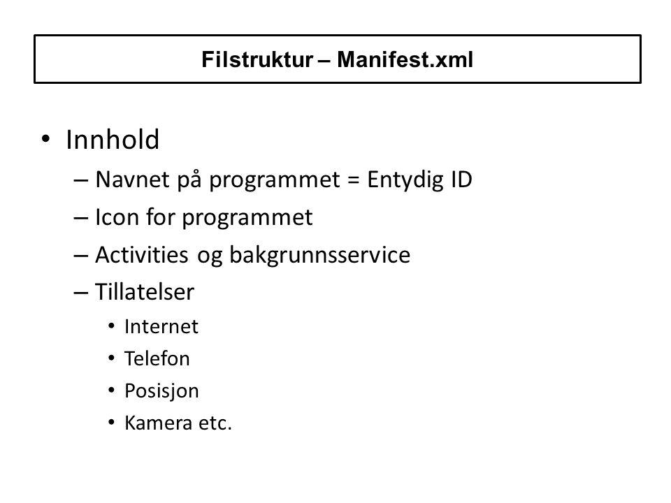 Innhold – Navnet på programmet = Entydig ID – Icon for programmet – Activities og bakgrunnsservice – Tillatelser Internet Telefon Posisjon Kamera etc.