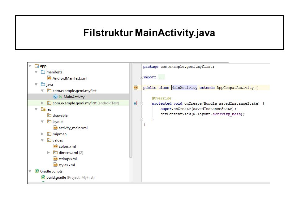 Filstruktur MainActivity.java