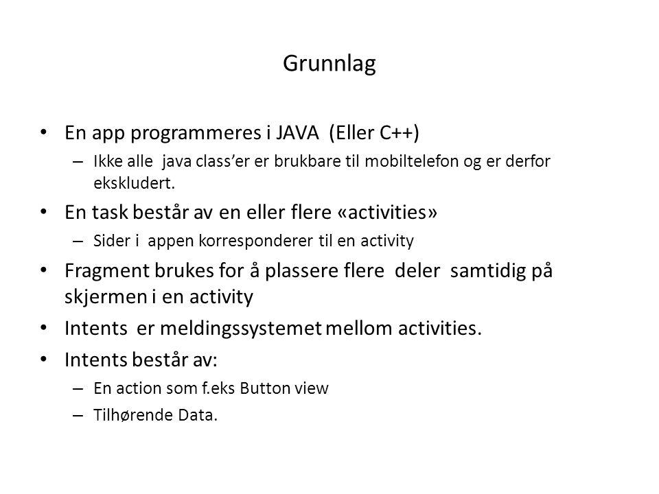 Grunnlag En app programmeres i JAVA (Eller C++) – Ikke alle java class'er er brukbare til mobiltelefon og er derfor ekskludert. En task består av en e
