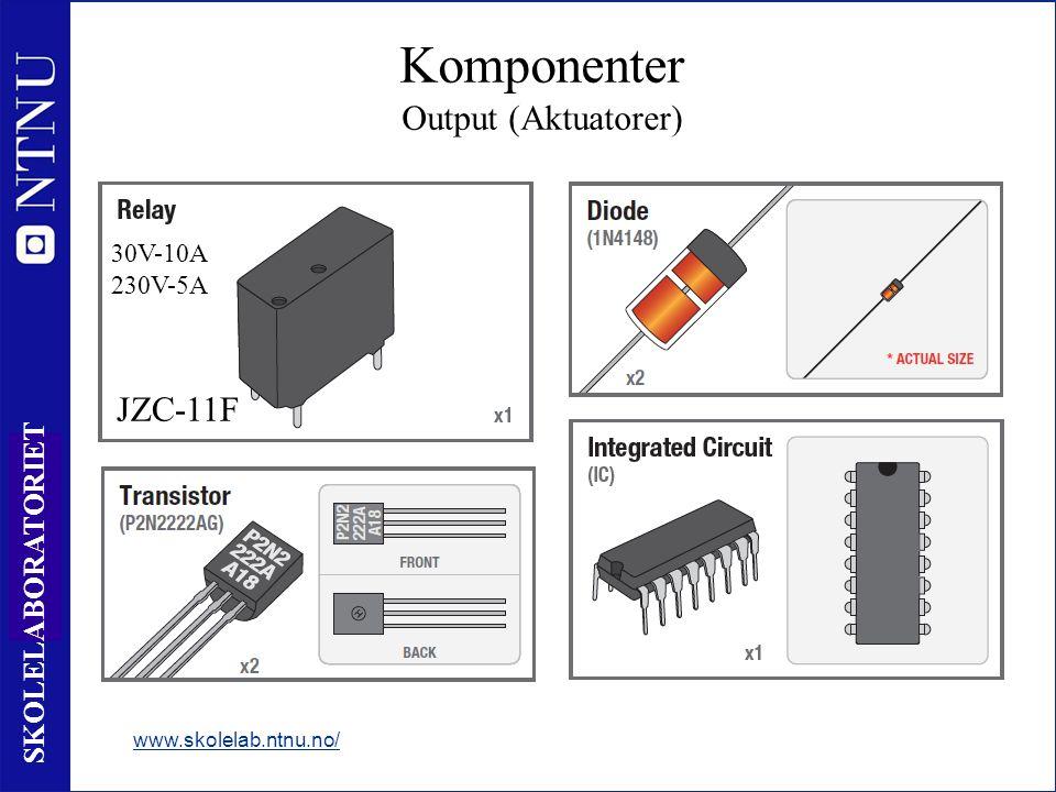 17 SKOLELABORATORIET www.skolelab.ntnu.no/ Komponenter Output (Aktuatorer) JZC-11F 30V-10A 230V-5A