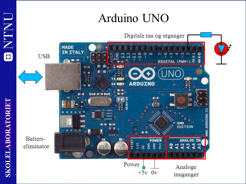18 SKOLELABORATORIET Arduino UNO Power Digitale inn og utganger Analoge innganger USB Batteri- eliminator +5v0v