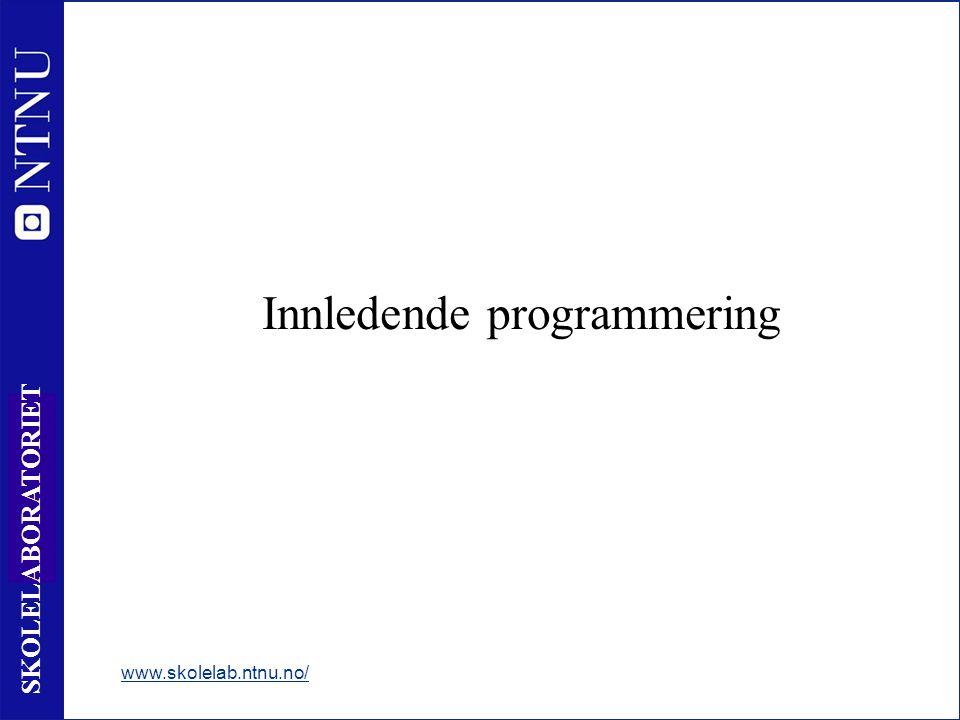25 SKOLELABORATORIET Innledende programmering www.skolelab.ntnu.no/