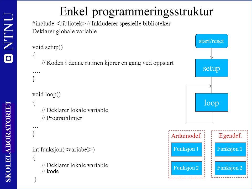 27 SKOLELABORATORIET Enkel programmeringsstruktur #include // Inkluderer spesielle biblioteker Deklarer globale variable void setup() { // Koden i denne rutinen kjører en gang ved oppstart ….