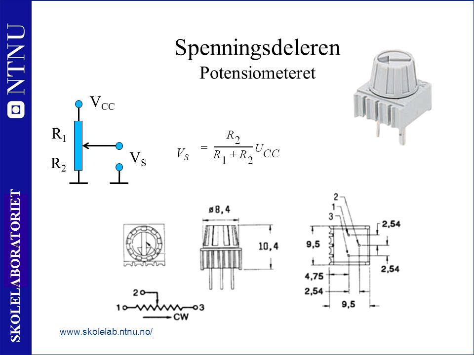 54 SKOLELABORATORIET Spenningsdeleren Potensiometeret www.skolelab.ntnu.no/ V CC VSVS VS_VS_ R1R1 R2R2