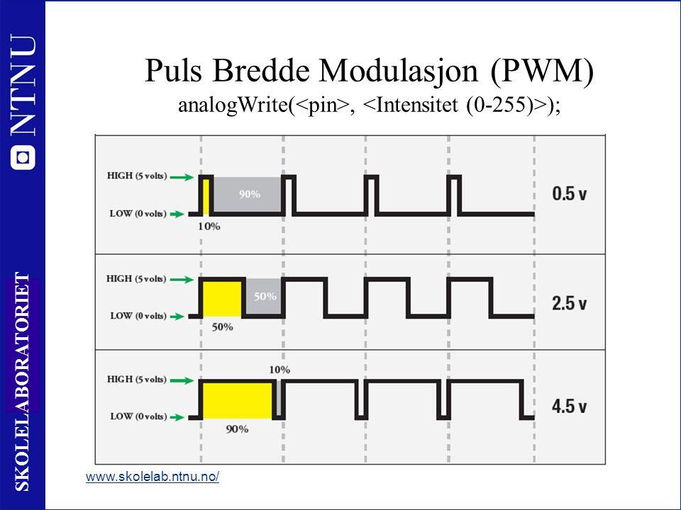 60 SKOLELABORATORIET Puls Bredde Modulasjon (PWM) analogWrite(, ); www.skolelab.ntnu.no/