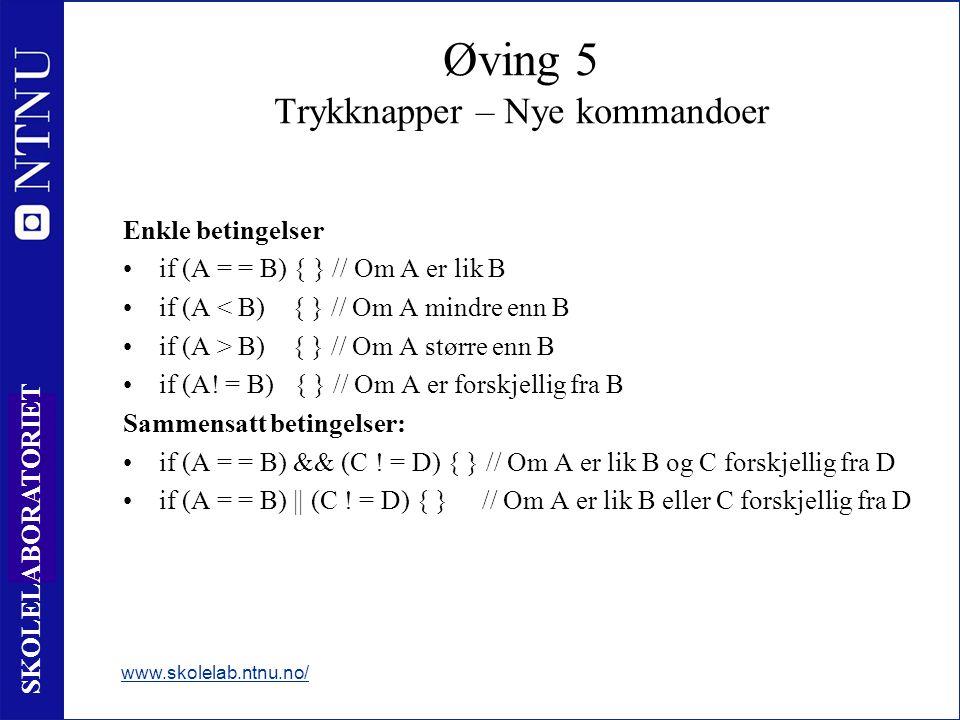 77 SKOLELABORATORIET Enkle betingelser if (A = = B) { } // Om A er lik B if (A < B) { } // Om A mindre enn B if (A > B) { } // Om A større enn B if (A.