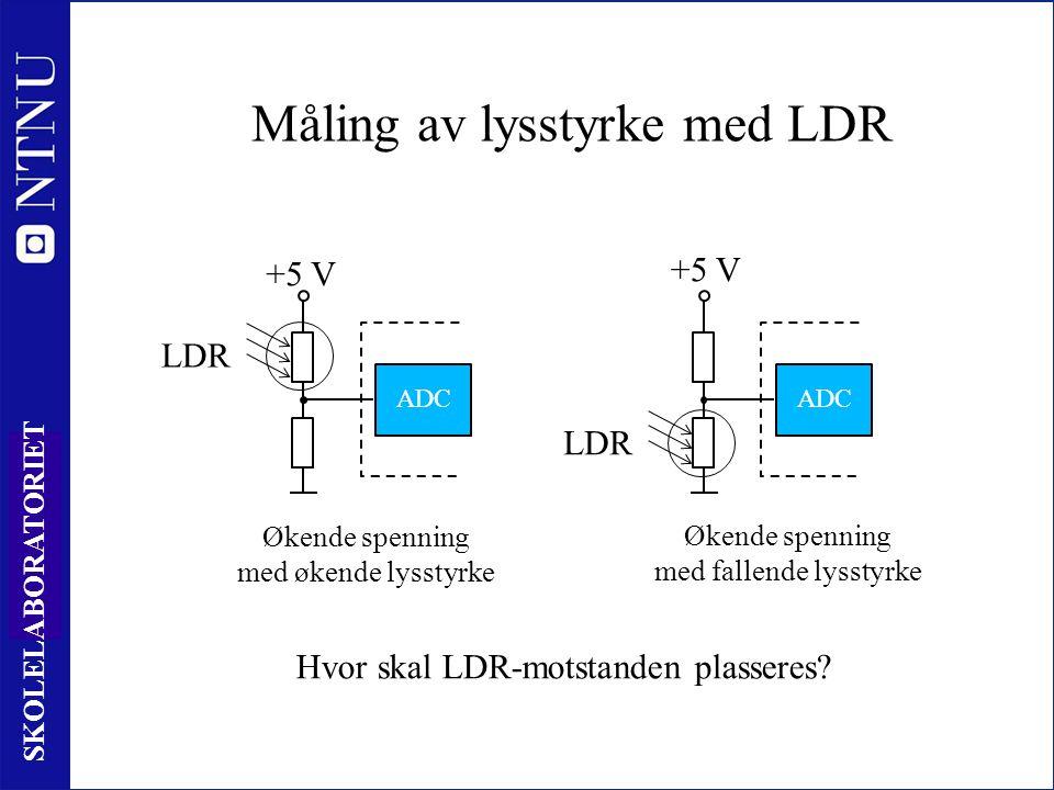 85 SKOLELABORATORIET Måling av lysstyrke med LDR Økende spenning med økende lysstyrke +5 V ADC Økende spenning med fallende lysstyrke ADC +5 V Hvor skal LDR-motstanden plasseres.