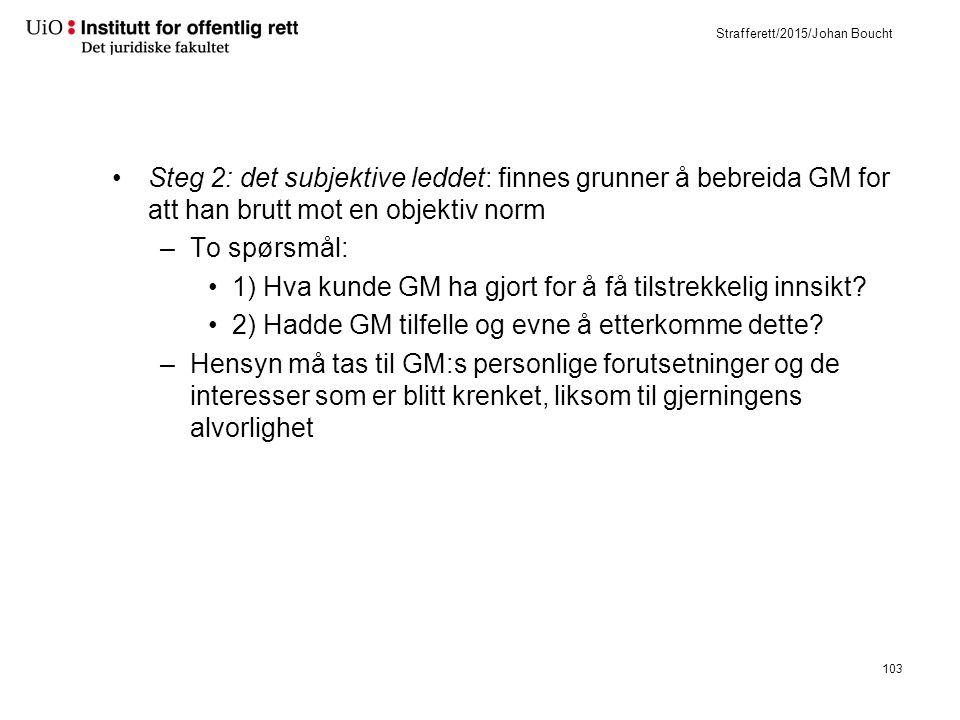 Strafferett/2015/Johan Boucht Steg 2: det subjektive leddet: finnes grunner å bebreida GM for att han brutt mot en objektiv norm –To spørsmål: 1) Hva kunde GM ha gjort for å få tilstrekkelig innsikt.