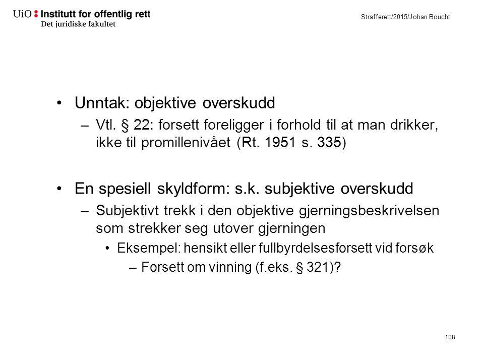 Strafferett/2015/Johan Boucht Unntak: objektive overskudd –Vtl.