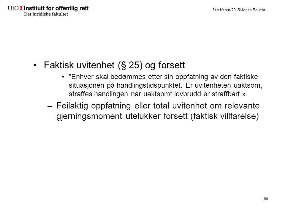 Strafferett/2015/Johan Boucht Faktisk uvitenhet (§ 25) og forsett Enhver skal bedømmes etter sin oppfatning av den faktiske situasjonen på handlingstidspunktet.