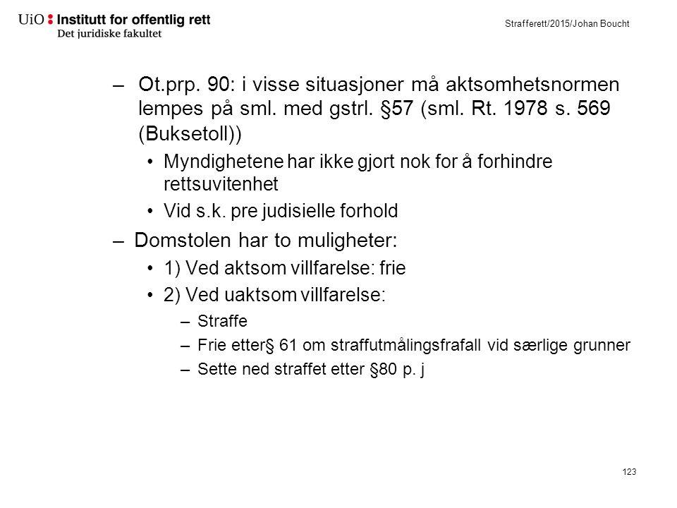 Strafferett/2015/Johan Boucht –Ot.prp. 90: i visse situasjoner må aktsomhetsnormen lempes på sml.