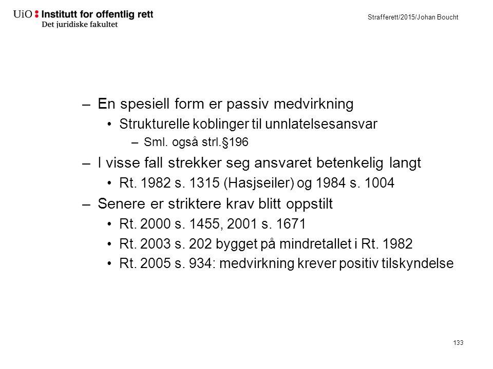 Strafferett/2015/Johan Boucht –En spesiell form er passiv medvirkning Strukturelle koblinger til unnlatelsesansvar –Sml.