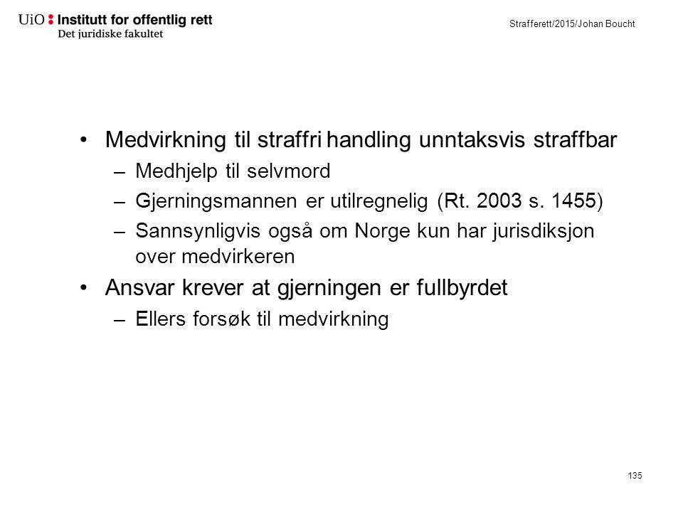 Strafferett/2015/Johan Boucht Medvirkning til straffri handling unntaksvis straffbar –Medhjelp til selvmord –Gjerningsmannen er utilregnelig (Rt.