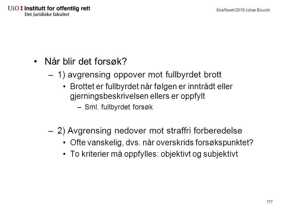 Strafferett/2015/Johan Boucht Når blir det forsøk.