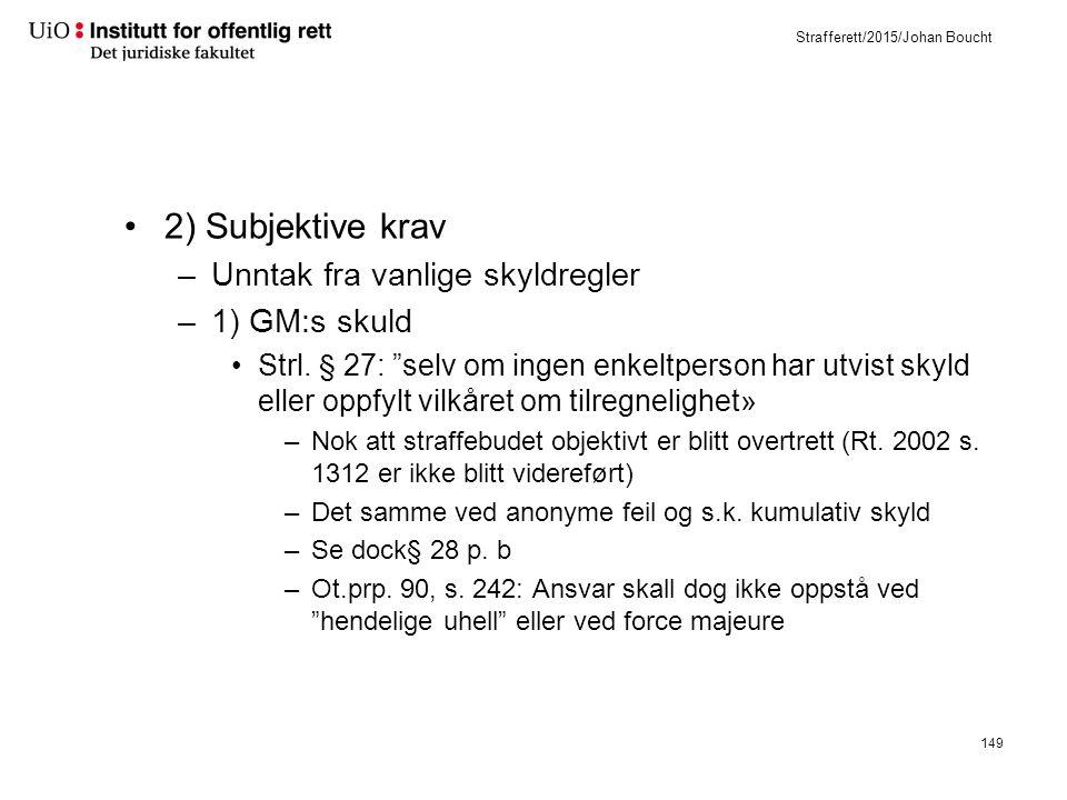 Strafferett/2015/Johan Boucht 2) Subjektive krav –Unntak fra vanlige skyldregler –1) GM:s skuld Strl.