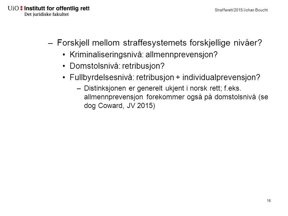 Strafferett/2015/Johan Boucht –Forskjell mellom straffesystemets forskjellige nivåer.