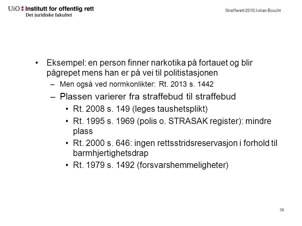 Strafferett/2015/Johan Boucht Eksempel: en person finner narkotika på fortauet og blir pågrepet mens han er på vei til politistasjonen –Men også ved normkonlikter: Rt.