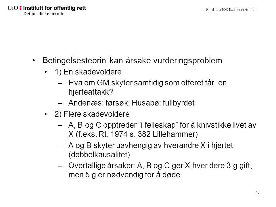 Strafferett/2015/Johan Boucht Betingelsesteorin kan årsake vurderingsproblem 1) En skadevoldere –Hva om GM skyter samtidig som offeret får en hjerteattakk.