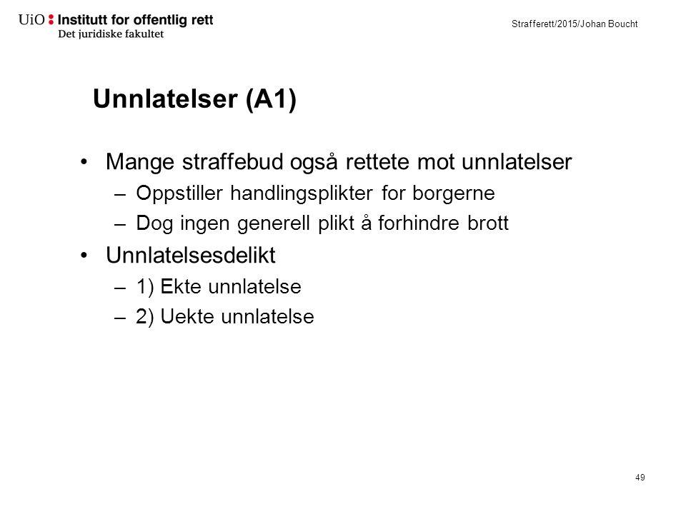 Strafferett/2015/Johan Boucht Unnlatelser (A1) Mange straffebud også rettete mot unnlatelser –Oppstiller handlingsplikter for borgerne –Dog ingen generell plikt å forhindre brott Unnlatelsesdelikt –1) Ekte unnlatelse –2) Uekte unnlatelse 49