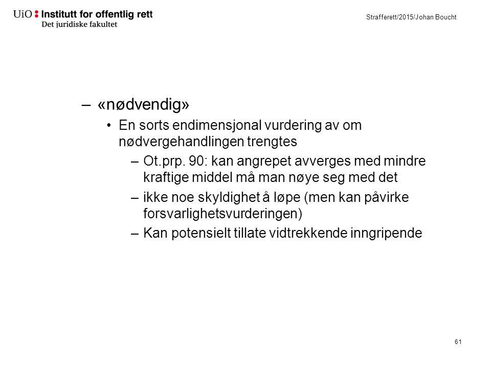 Strafferett/2015/Johan Boucht –«nødvendig» En sorts endimensjonal vurdering av om nødvergehandlingen trengtes –Ot.prp.