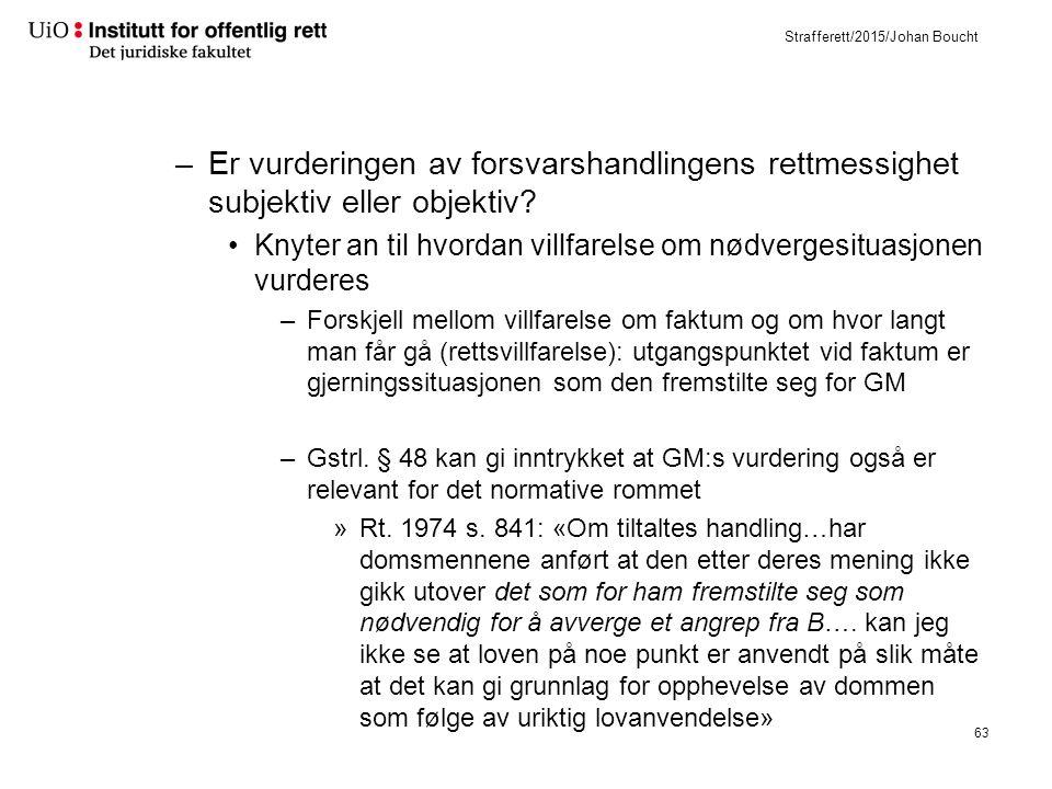 Strafferett/2015/Johan Boucht –Er vurderingen av forsvarshandlingens rettmessighet subjektiv eller objektiv.