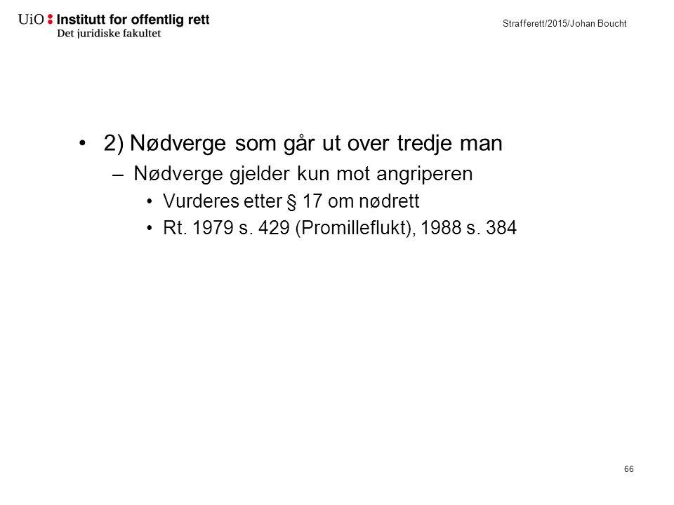 Strafferett/2015/Johan Boucht 2) Nødverge som går ut over tredje man –Nødverge gjelder kun mot angriperen Vurderes etter § 17 om nødrett Rt.