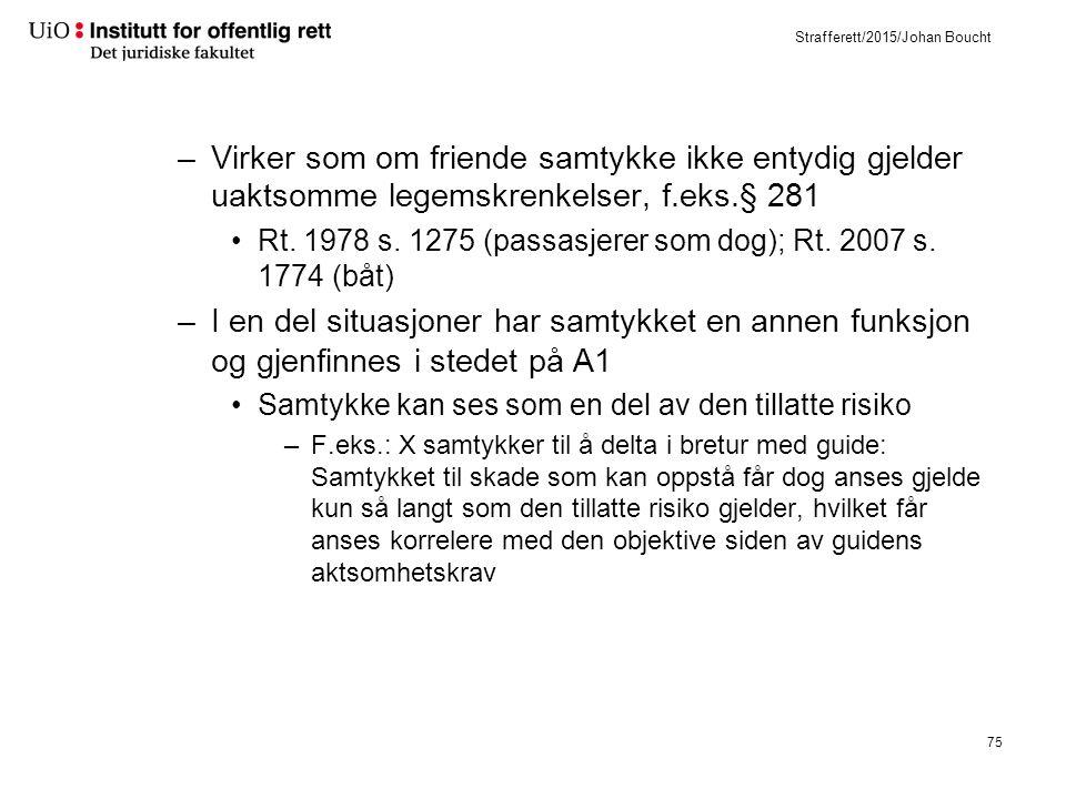 Strafferett/2015/Johan Boucht –Virker som om friende samtykke ikke entydig gjelder uaktsomme legemskrenkelser, f.eks.§ 281 Rt.