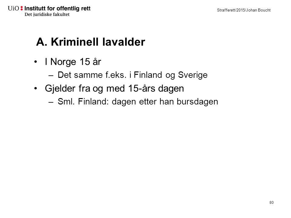 Strafferett/2015/Johan Boucht A. Kriminell lavalder I Norge 15 år –Det samme f.eks.