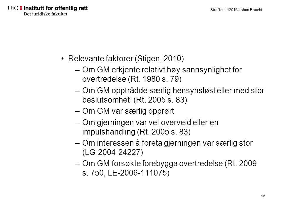 Strafferett/2015/Johan Boucht Relevante faktorer (Stigen, 2010) –Om GM erkjente relativt høy sannsynlighet for overtredelse (Rt.