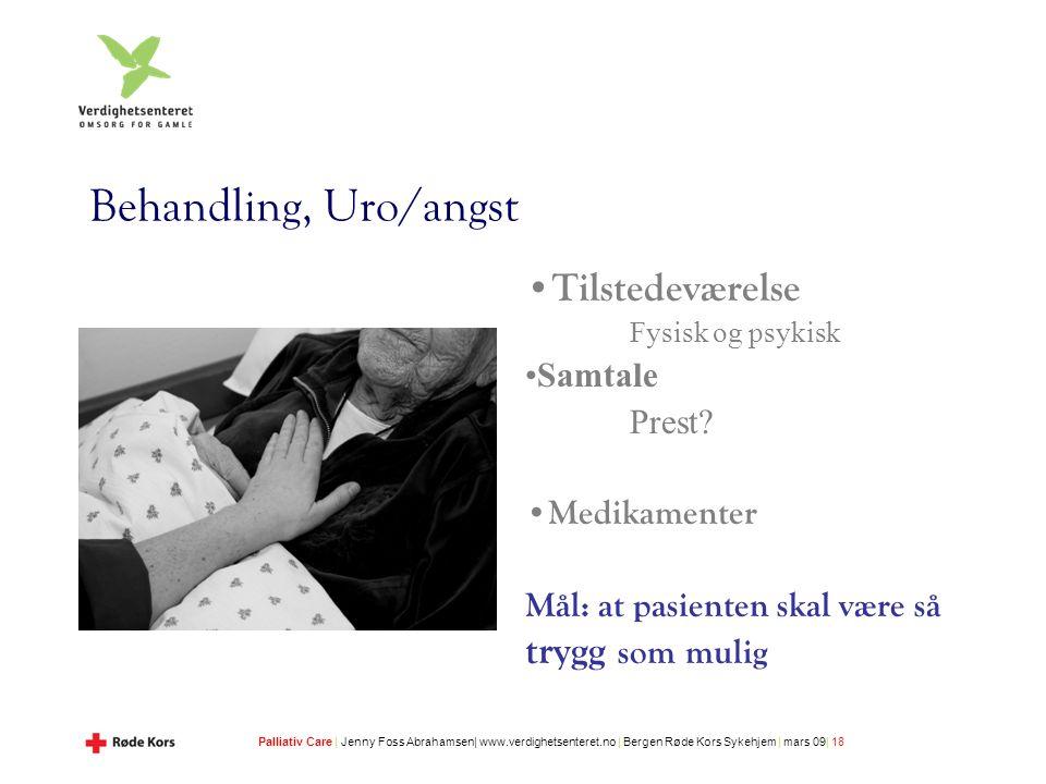 Palliativ Care | Jenny Foss Abrahamsen| www.verdighetsenteret.no | Bergen Røde Kors Sykehjem | mars 09| 18 Behandling, Uro/angst Tilstedeværelse Fysisk og psykisk Samtale Prest.