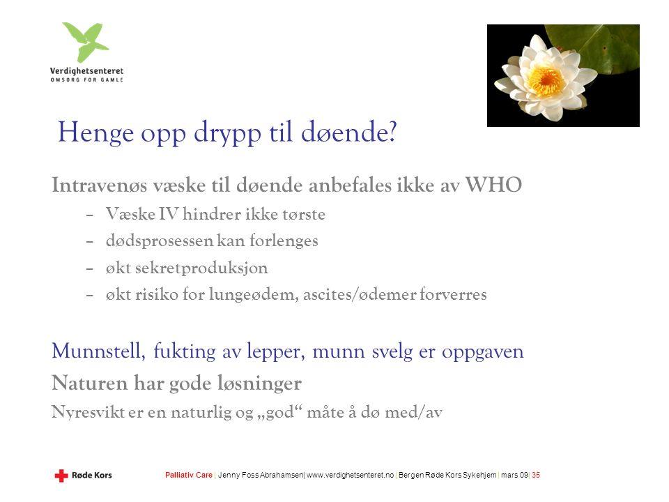Palliativ Care | Jenny Foss Abrahamsen| www.verdighetsenteret.no | Bergen Røde Kors Sykehjem | mars 09| 35 Henge opp drypp til døende.
