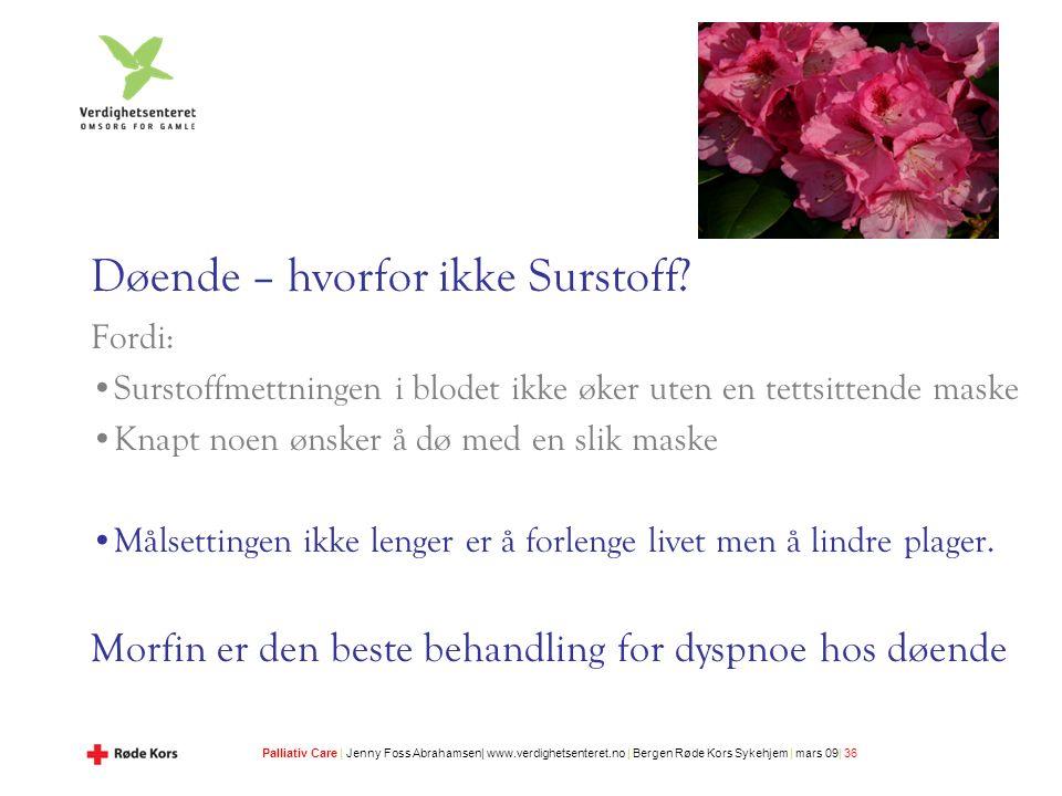 Palliativ Care | Jenny Foss Abrahamsen| www.verdighetsenteret.no | Bergen Røde Kors Sykehjem | mars 09| 36 Døende – hvorfor ikke Surstoff.