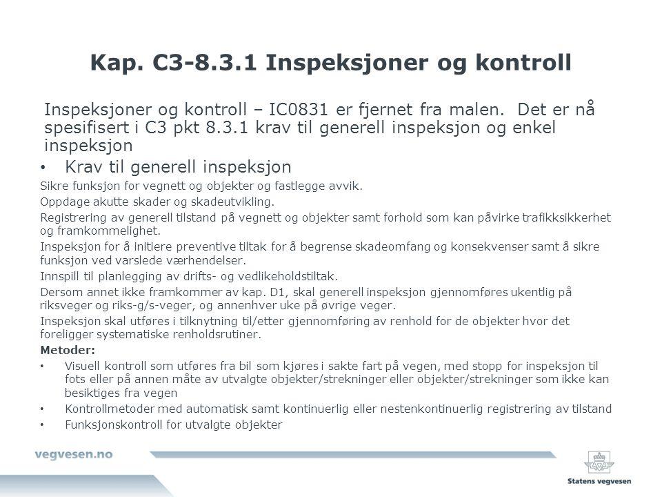 Kap. C3-8.3.1 Inspeksjoner og kontroll Inspeksjoner og kontroll – IC0831 er fjernet fra malen.