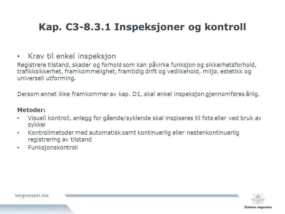 Kap. C3-8.3.1 Inspeksjoner og kontroll Krav til enkel inspeksjon Registrere tilstand, skader og forhold som kan påvirke funksjon og sikkerhetsforhold,