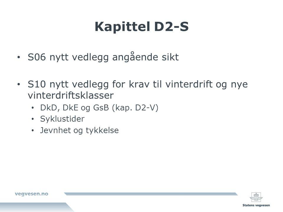 Kapittel D2-S S06 nytt vedlegg angående sikt S10 nytt vedlegg for krav til vinterdrift og nye vinterdriftsklasser DkD, DkE og GsB (kap.