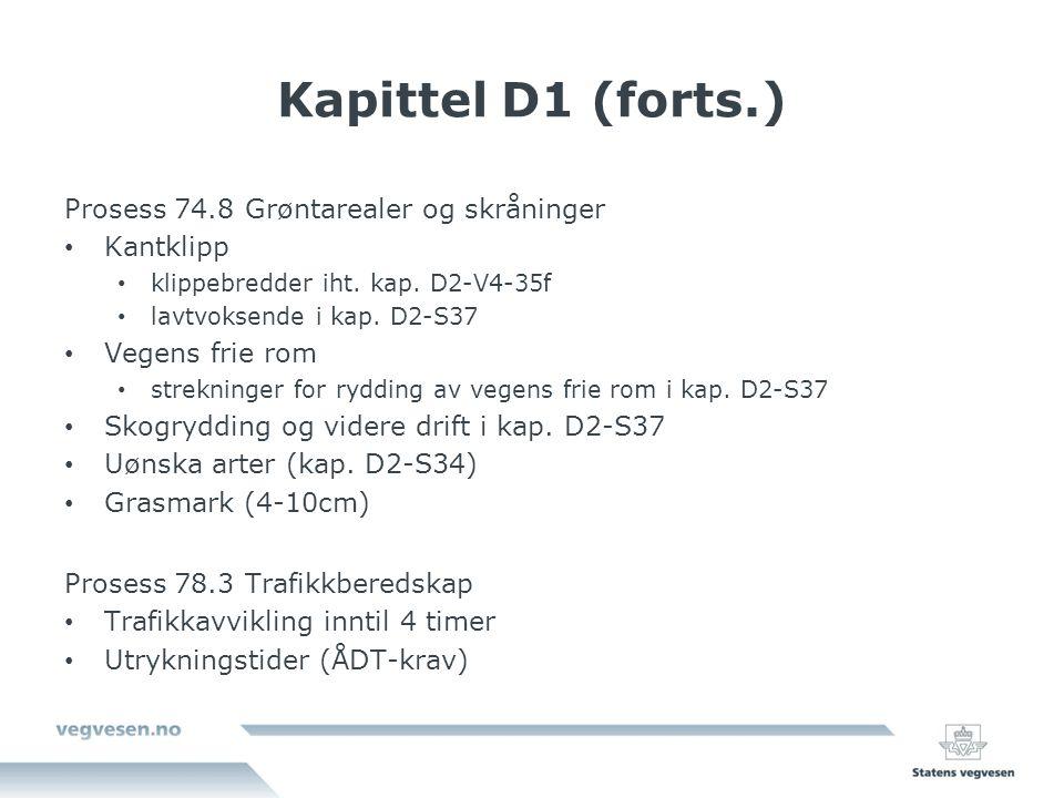 Kapittel D1 (forts.) Prosess 74.8 Grøntarealer og skråninger Kantklipp klippebredder iht.