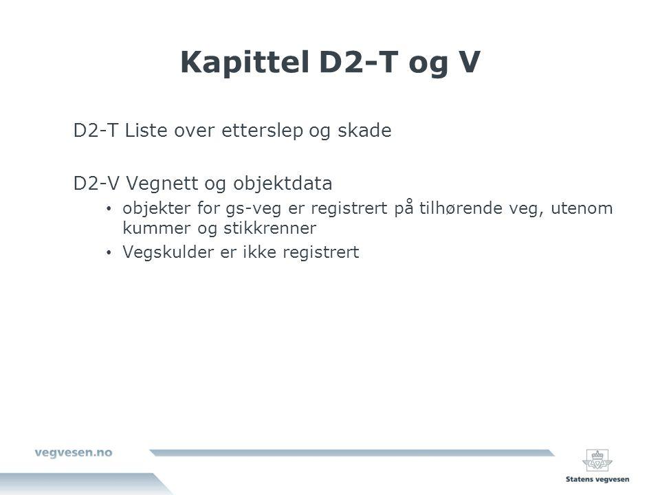 Kapittel D2-T og V D2-T Liste over etterslep og skade D2-V Vegnett og objektdata objekter for gs-veg er registrert på tilhørende veg, utenom kummer og stikkrenner Vegskulder er ikke registrert