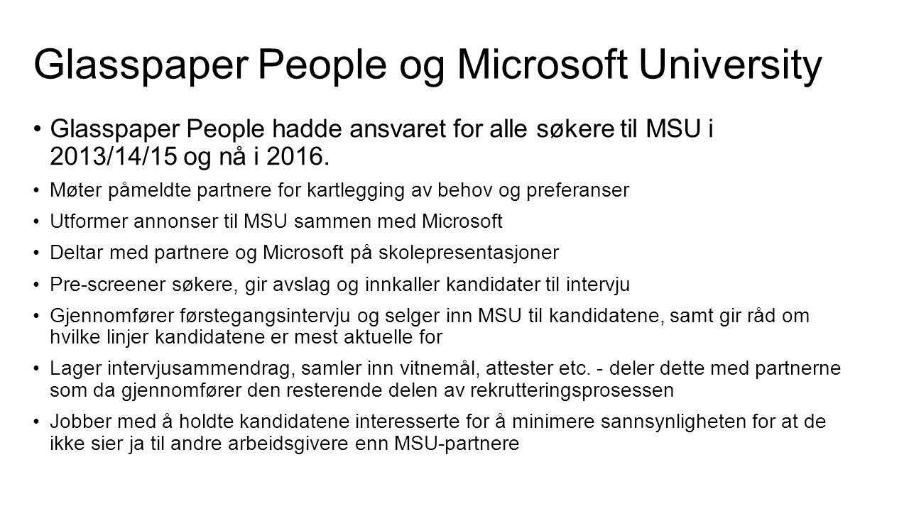 Glasspaper People og Microsoft University Glasspaper People hadde ansvaret for alle søkere til MSU i 2013/14/15 og nå i 2016.