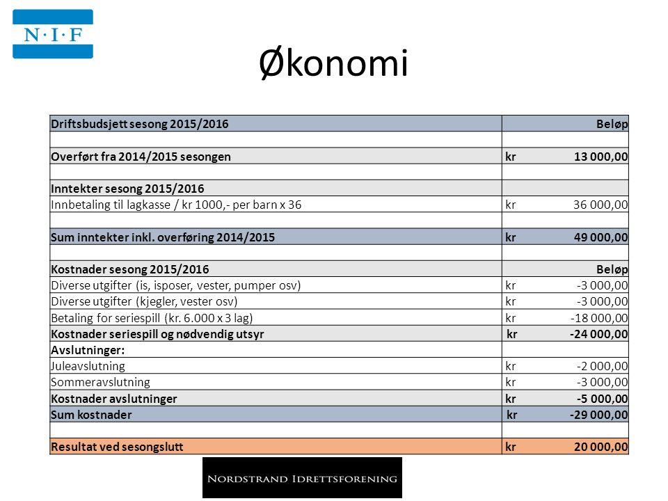 Økonomi Driftsbudsjett sesong 2015/2016 Beløp Overført fra 2014/2015 sesongen kr 13 000,00 Inntekter sesong 2015/2016 Innbetaling til lagkasse / kr 1000,- per barn x 36 kr 36 000,00 Sum inntekter inkl.