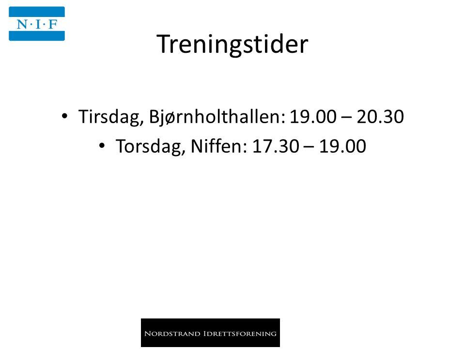 Treningstider Tirsdag, Bjørnholthallen: 19.00 – 20.30 Torsdag, Niffen: 17.30 – 19.00