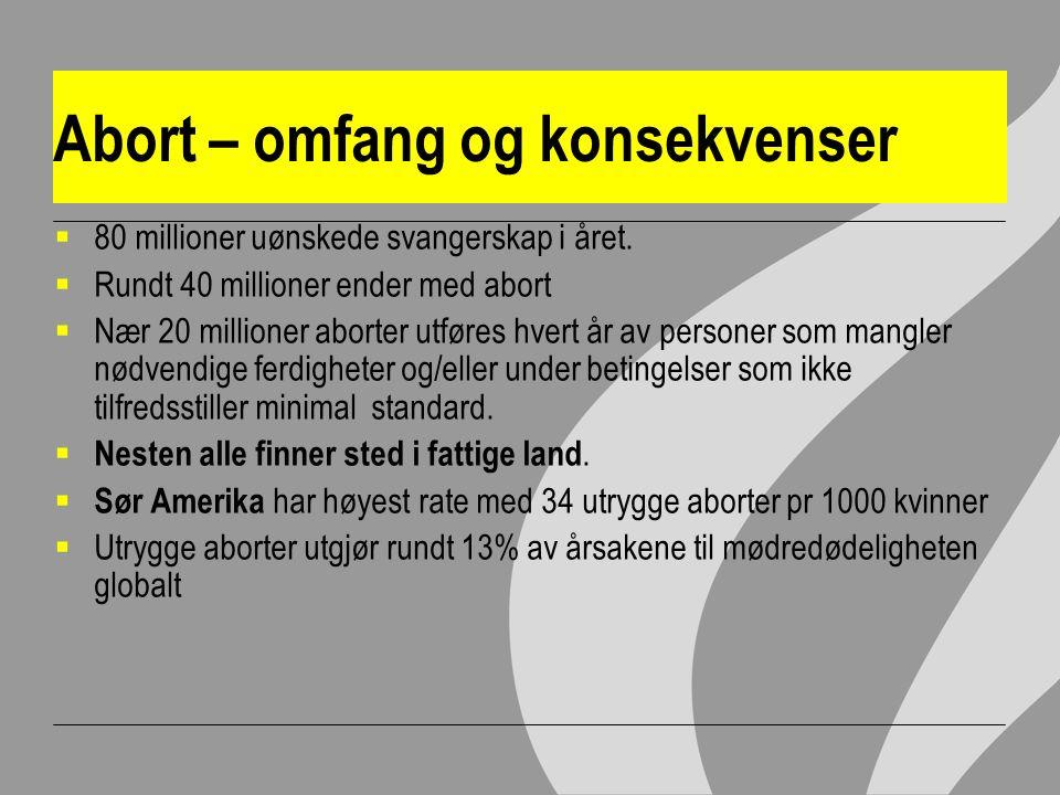 Abort – omfang og konsekvenser  80 millioner uønskede svangerskap i året.
