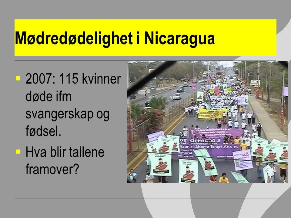 Mødredødelighet i Nicaragua  2007: 115 kvinner døde ifm svangerskap og fødsel.
