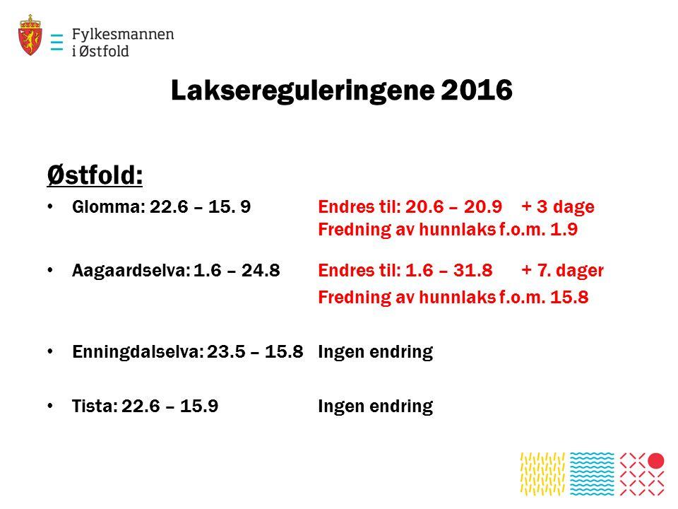 Laksereguleringene 2016 Østfold: Glomma: 22.6 – 15. 9Endres til: 20.6 – 20.9+ 3 dage Fredning av hunnlaks f.o.m. 1.9 Aagaardselva: 1.6 – 24.8Endres ti