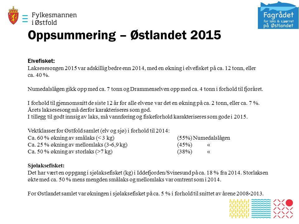 Oppsummering – Østlandet 2015 Elvefisket: Laksesesongen 2015 var adskillig bedre enn 2014, med en økning i elvefisket på ca.