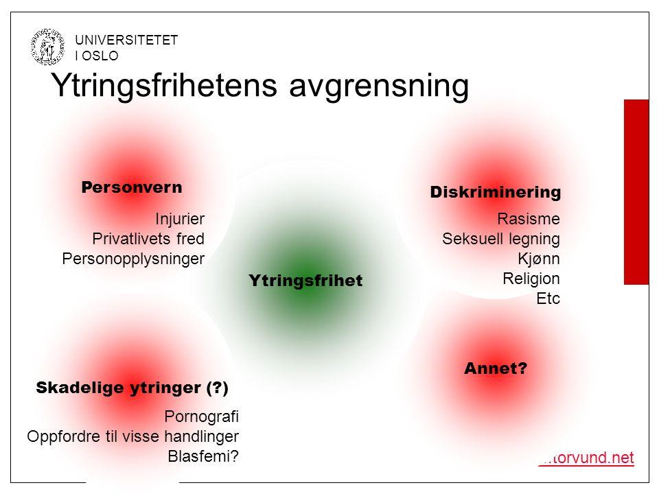 © Olav Torvund - SENTER FOR RETTSINFORMATIKK UNIVERSITETET I OSLO http://www.torvund.net Ytringsfrihet Annet? Ytringsfrihet Diskriminering Rasisme Sek