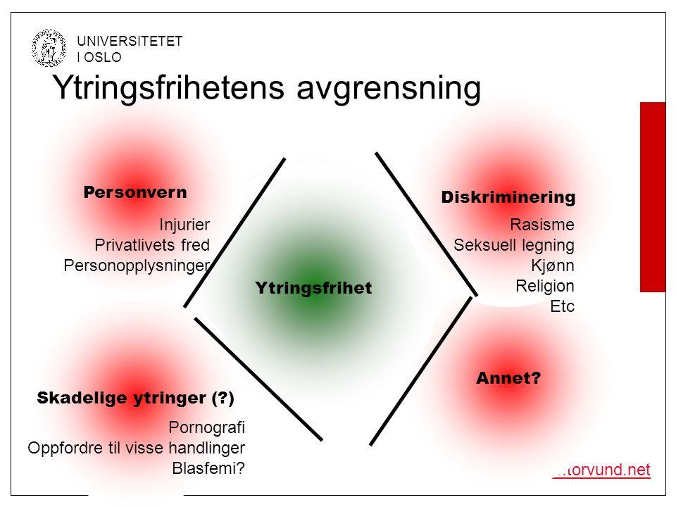 © Olav Torvund - SENTER FOR RETTSINFORMATIKK UNIVERSITETET I OSLO http://www.torvund.net Interesseavveining Ytringsfrihet Diskriminering Personvern Farlige ytringer