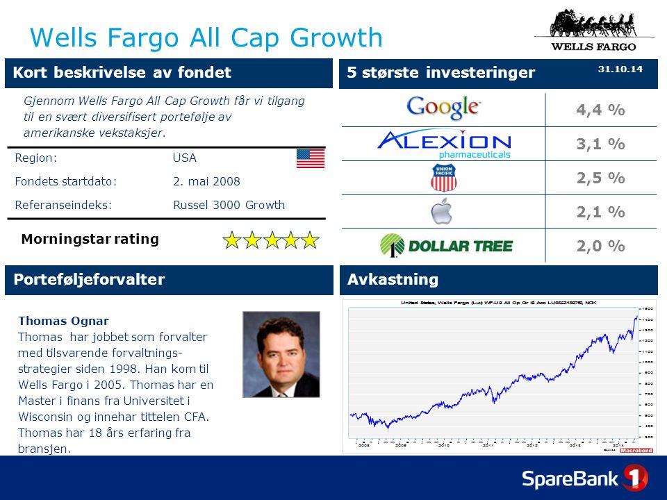 4,4 % 3,1 % 2,5 % 2,1 % 2,0 % Wells Fargo All Cap Growth Thomas Ognar Thomas har jobbet som forvalter med tilsvarende forvaltnings- strategier siden 1998.
