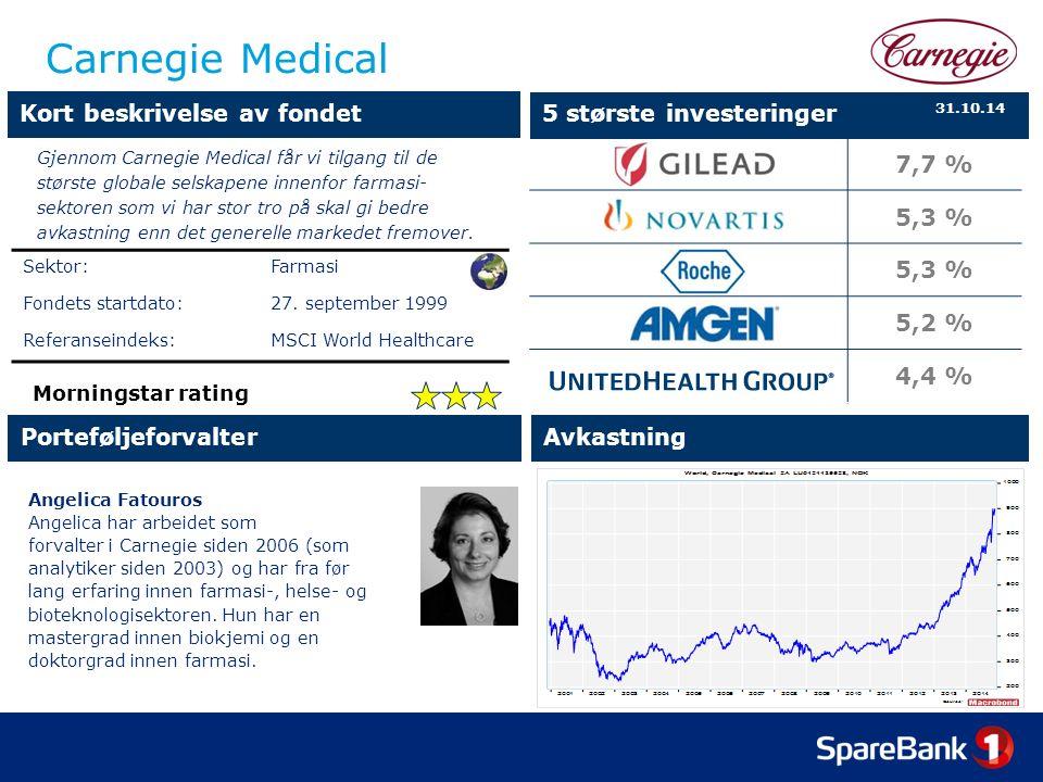 Carnegie Medical Angelica Fatouros Angelica har arbeidet som forvalter i Carnegie siden 2006 (som analytiker siden 2003) og har fra før lang erfaring innen farmasi-, helse- og bioteknologisektoren.