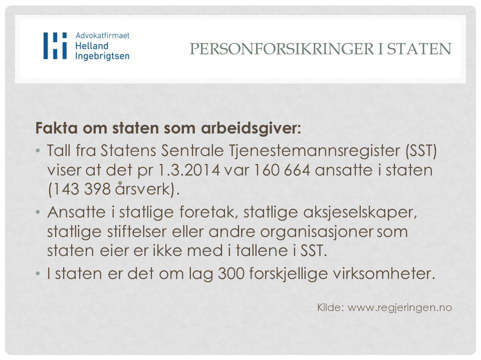 Fakta om staten som arbeidsgiver: Tall fra Statens Sentrale Tjenestemannsregister (SST) viser at det pr 1.3.2014 var 160 664 ansatte i staten (143 398 årsverk).
